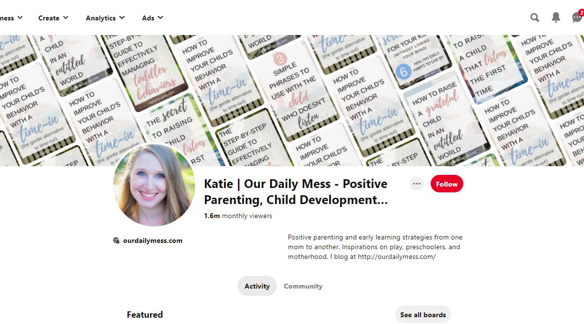 Katie | Our Daily Mess - Positive Parenting, Child Development… Pinterest Account